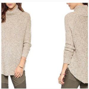 Free People Cream Waffle Knit Turtleneck Sweater